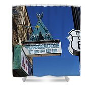 Route 66 Turquoise Tepee Shower Curtain