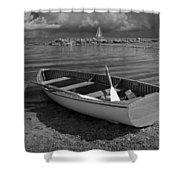 Row Boat On The Shore Of Lake Ontario In Toronto Shower Curtain