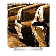 Row Of Cars Shower Curtain by Carlos Caetano