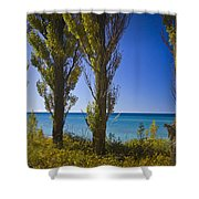 Row Of Cypress Trees At Point Betsie In Michigan No.0924 Shower Curtain