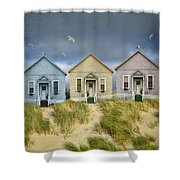 Row Of Pastel Colored Beach Cottages Shower Curtain