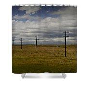 Row Of Utility Poles On The Prairie Shower Curtain