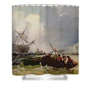 Rowing Boat Going To The Aid Of A Man-o'-war In A Storm Shower Curtain