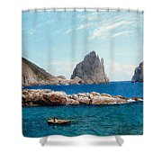 Rowing Off The Rocks Shower Curtain