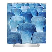 Rows Of Blue Chairs Shower Curtain by Carlos Caetano