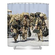 Royal Marines Haul Their Equipment Shower Curtain