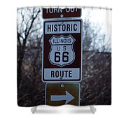 Rt 66 Il Turn Out Signage Shower Curtain
