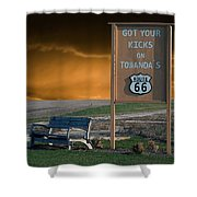Rt 66 Towanda Signage Shower Curtain