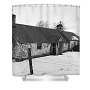 Ruined Cottage In Snow Shower Curtain