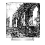 Ruins Of Roman Aqueduct, 18th Century Shower Curtain by Photo Researchers