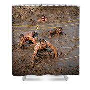 Runners Navigate An Obstacle Course Shower Curtain