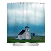 Rural Church With Stormy Sky Shower Curtain