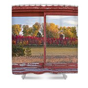 Rural Country Autumn Scenic Window View Shower Curtain