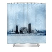 Rural Farm In Winter Shower Curtain