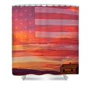 Rural Patriotic Little House On The Prairie Shower Curtain by James BO  Insogna
