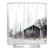 Rural Road By A Shack In Winter Shower Curtain