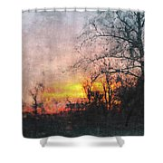 Rural Sunset  Art Shower Curtain