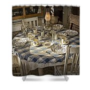 Rural Table Setting For Four No.3121 Shower Curtain
