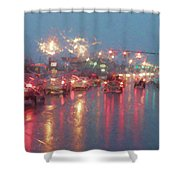 Rush Hour In The Rain Shower Curtain