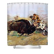 Russell: Buffalo Hunt Shower Curtain