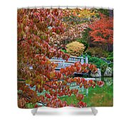 Rust Colored Leaves Over Autumn Pond Shower Curtain