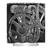 Rust Gears And Wheels Black And White Shower Curtain