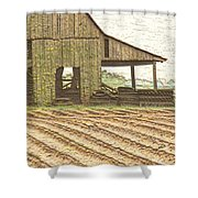 Rustic Barn And Field Rows Shower Curtain