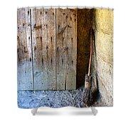 Rustic Door And Broom Shower Curtain