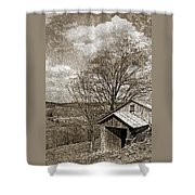 Rustic Hillside Barn Shower Curtain