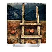 Rustic Ladder On Adobe House Shower Curtain