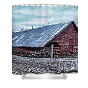 Rustic Red Winter Barn Shower Curtain