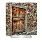 Rustic Stone House With Old Shower Curtain
