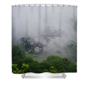 Rustic Village In The Fog Shower Curtain