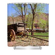 Rustic Wagon At Historic Lonely Dell Ranch - Arizona Shower Curtain