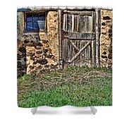 Rustic Wooden Door In Stone Barn Shower Curtain
