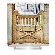 Rustic Wooden Gate In Snow Shower Curtain