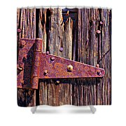 Rusty Barn Door Hinge  Shower Curtain