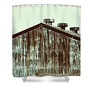 Rusty Tin Factory Building Shower Curtain