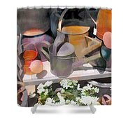 Rusty Watering Cans Shower Curtain