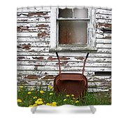 Rusty Wheelbarrow And Wildflowers Shower Curtain