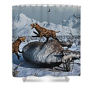 Sabre-toothed Tigers Battle Shower Curtain