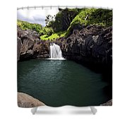 Sacred Pool And Waterfall Shower Curtain
