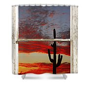 Saguaro Sunset Picture Window View Shower Curtain