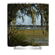 Sailboat And Moss Shower Curtain
