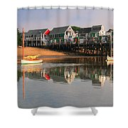 Sailboats And Harbor Waterfront Reflections Shower Curtain