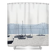 Sailboats And The Tappan Zee Bridge Shower Curtain