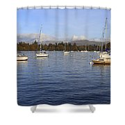 Sailboats At Anchor In Bowness On Windermere Shower Curtain