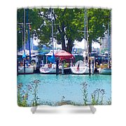 Sailboats In Dock Shower Curtain