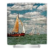 Sailboats In The Netherlands By The Zuiderzee Shower Curtain