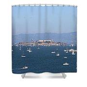 Sailboats In The San Francisco Bay Overlooking Alcatraz . 7d7862 Shower Curtain